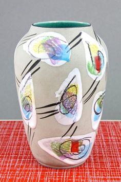 Vintage Retro Bodo Mans Vase Bay West German Pottery Fat Lava Mid Century 50s | eBay
