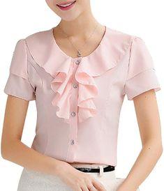 Formal Tops, Work Dresses For Women, Frocks For Girls, Mode Hijab, Work Blouse, Short Tops, Pink Uk, Short Girls, Blouse Designs