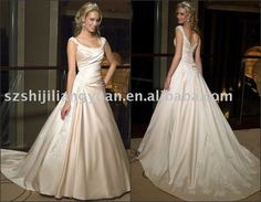 Champagne Popular Embroidered Bead Classic Wedding Dress...I actually like the off white color for a wedding dress. This is beautiful.