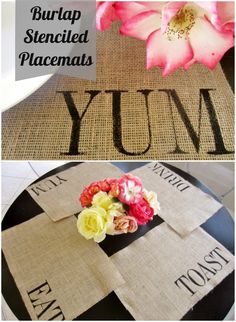 How to Make Burlap Stenciled Placemats