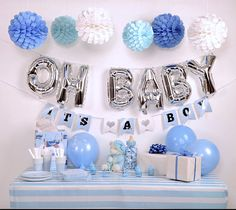 Baby Shower Decoration kit for boy Blue and Silver baby shower