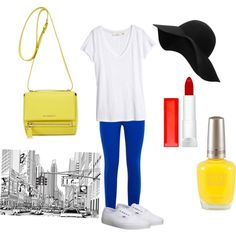 Pop of color in the city by tfiosunicorn on Polyvore featuring polyvore, fashion, style, H&M, J Brand, Vans, Givenchy, MANGO and Maybelline