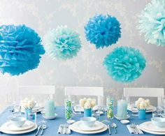 Blue Pom-Poms- these are ridiculously easy and so cheap to make. We could do them in your shades above something fun like a cake table, candy buffet, etc.