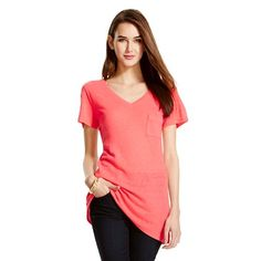 V-Neck Linen/Poly Tee with Pocket - Mossimo