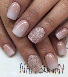 50 super french tip nails to add another dimension to your manicure - Nageldesign - Nail Art - Nagellack - Nail Polish - Nailart - Nails - Gold Nail Art, Rose Gold Nails, Glitter Nails, Ombre Nail Art, Ombre French Nails, Pink Nails, Rose Gold Nail Design, Glitter Wedding Nails, Short French Tip Nails