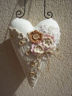 Shabby Chic - Heart - Textile heart -  Home Decor - Lace Heart by TrixiCreation on Etsy