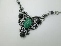 victorian necklace with amethyst or malachite elven by ArcanaXIII