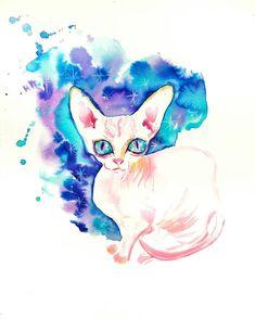 Sphynx cat Original watercolor painting stars space art