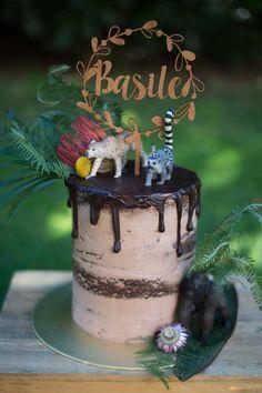 Cake by www.frenchmade.co.uk #birthdaycake #chocolate #celebration #cake #birthday #seminakedcake #exotic #foliage #jungle  #birthdayboy #forest #gorilla #animalfigurine #drippingcake