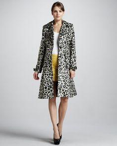 Charla Leopard-Print Trenchcoat, Sleeveless Bodysuit & Leigh Metallic Tweed Miniskirt by Alice + Olivia at Neiman Marcus.