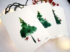 Unique and Original Greeting Card Set. Set of 6. Santas and a Christmas Tree. Hand-painted Opaque Watercolor. Great Christmas Gift.