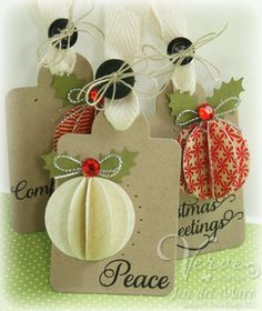 gift tags with paper ornament design. These would be great to make now to put on Christmas gifts for friends and family later instead of generic, store bought Christmas gift tags. Christmas Gift Wrapping, Christmas Paper, Handmade Christmas, Christmas Holiday, Diy Christmas Tags, Holiday Gift Tags, Christmas Decorations, Christmas Ornaments, Paper Ornaments