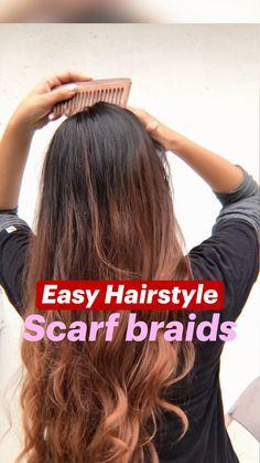 Hair Scarf Styles, Front Hair Styles, Medium Hair Styles, Curly Hair Styles, Bun Hairstyles For Long Hair, Scarf Hairstyles, Hair Style Vedio, Hair Tutorials For Medium Hair, Hair Videos