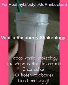Vanilla Raspberry Shakeology - used 8 oz alm milk, 4 oz water, 1 cup ice, 1 cup raspberries Shakeology Shakes, Vanilla Shakeology, Vanilla Protein Shakes, Vanilla Protein Powder, Whey Protein Recipes, Superfood Recipes, 310 Shake Recipes, Whey Shake, Pancakes Protein