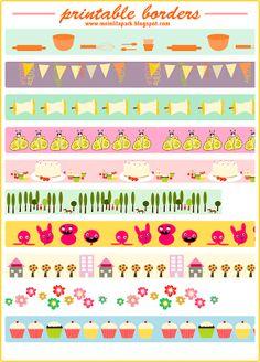 Free printable border sheet • faux washi tape • ausdruckbares Clipart • freebie | MeinLilaPark – digital freebies