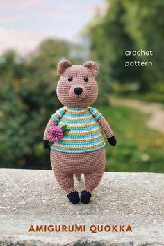 Crochet Sloth, Crochet Animal Amigurumi, Cute Crochet, Crochet Animals, Easy Amigurumi Pattern, Quokka, Australian Animals, Crochet Toys Patterns, Crochet Basics
