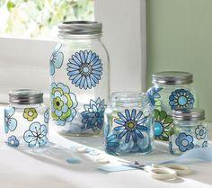 DIY Tutorial - Painted Flowers on Glass Jars