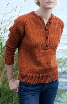 Emily Raglan Henley (neck style opening) by Lacie Lynnae knit in a DK 8 ply. This pattern is knit top down in the round in one piece. $5.00 USD for pattern download via Ravelry