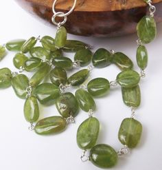 Green vessonite necklace, vessonite necklace, green necklace, sterling silver, vessonite nuggets, real vessonite, by graciedot on Etsy