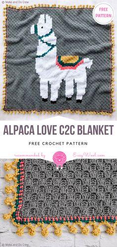 Alpaca Love C2C Blanket Free Crochet Pattern on easywool.com