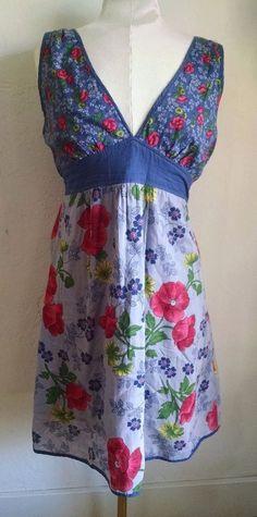 Anthropologie Flying Tomato Sundress L Blue Pink Floral Print V-neck Tie #FlyingTomato #Sundress #Casual