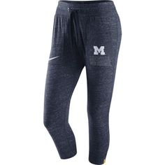 Nike Women's Michigan Wolverines Heathered Blue Gym Vintage Capri Pants, Size: Medium