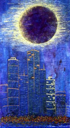 Art Decor Mixed Media FIber Art Lunar Eclipse Over City Skyline reflects city…