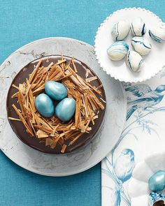 Tucked inside nests of milk-chocolate shavings are truffle eggs tinted robin's…