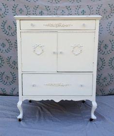 White painted tall dresser shabby chic