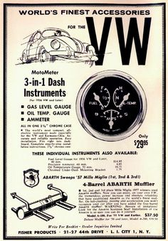 I love the old v'dub ad's but an oil temperature dial in a 57 beetle is about as useful as a chocolate teapot! Vw T, Volkswagen Bus, Volkswagen Factory, Audi, Vw Accessories, Hot Vw, Vw Engine, Vw Vintage, Old Classic Cars