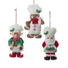 Shelley B Home and Holiday - Plush Santa, Gingerbread, Elf Christmas Ornaments set of 3, $24.00 (http://shelleybhomeandholiday.com/plush-santa-gingerbread-elf-christmas-ornaments-set-of-3/)