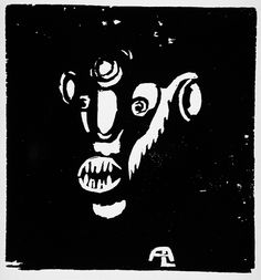 Andreas Luksch, Untitled head, ca 1919, woodcut. Image: 4 x 3 3/4 in. Robert Gore Rifkind Ctr for German Expressionist Studies @ LACMA