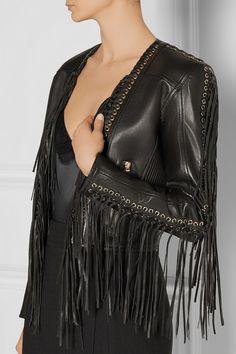 Balmain Fringed leather biker jacket