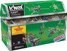 K'nex 70 Model Building Set, 13419, 705 piece. Build all 70 models – or anything you can imagine with the 70 Model Ultimate Building Set! This 702 piece set includes building ideas for a hot air balloon, boats, trucks, a sand castle and more! Made in the USA.