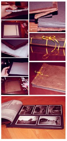 Second attempt, photo album, cloth wrapping, tied together with a ribbon. /DIY/