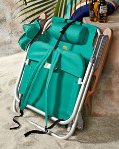 Orange Deluxe Backpack Beach Chair Cooler Lays Flat