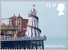 The funfair on Brighton Palace Pier featured on a Royal Mail stamp (2014)