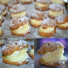 Ingredients: 1 stick butter Tablespoons) 1 cup water 1 tsp vanilla 4 eggs flour MOM'S FAMOUS FILLING: 1 pint heavy cream 1 package OUNCES) instant vanilla pudding ⅓ cup milk Makes approx 16 Instructions: click next page to continue reading … Köstliche Desserts, Delicious Desserts, Dessert Recipes, Yummy Food, Breakfast Recipes, Dinner Recipes, Eclairs, Pastry Recipes, Cooking Recipes