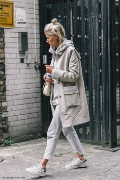 All Beige Everything Street Style Beige Trench Coat And Grey Hooded Jumper Hoody Grey Denim Jeans And Adidas Stan Smith Shoes