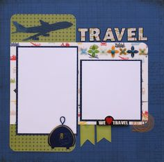 Premade Scrapbook Page - Travel - Airplane