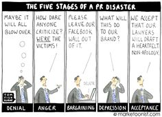If your crisis response resembles this cartoon, you need help. the five stages of a PR disaster - Tom Fishburne