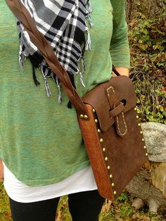 Leather shoulder bag, braided strap and salvaged Mahogany wood sides