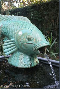 Fish fountain in a Tybee Island beach cottage.