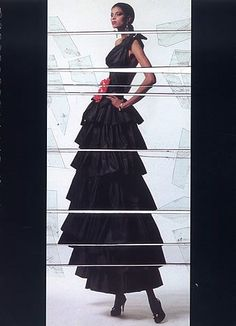 Yves Saint Laurent haute couture, Spring 1982. Photo:  Jean Paul Goude. Model: Mounia.