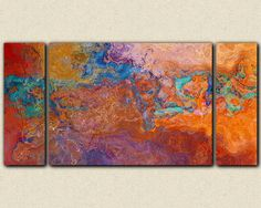 "Oversize contemporary triptych, 30x60 to 40x78 canvas print in rust, copper and turquoise, ""Southwestern Archetype"""