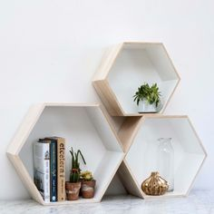 Buy Set of 3 Hexagon Box Shelves from rigby & mac: Set of 3 interlocking hexagon boxes to display your favourite things. Light wood with white interiors and hooks on the back to mount on the wall. Danish design. -...