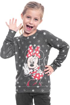 Disney Girls Minnie Mouse Polka Dots Sweater Gray