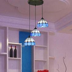 Blue Pendant Light, Pendant Lights, Pendant Lamp, Round Top, Tiffany, Dining Room, Blue And White, Ceiling Lights, Lighting