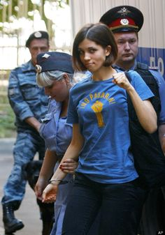 "Nadezhda Tolokonnikova. She is a member of the punk group Pussy Riot imprisoned by Putin for ""hooliganism"" for their Anti-Putin protests"