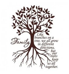 Family - Like branches on a tree, we all grow in different directions, but our roots keep us all together...